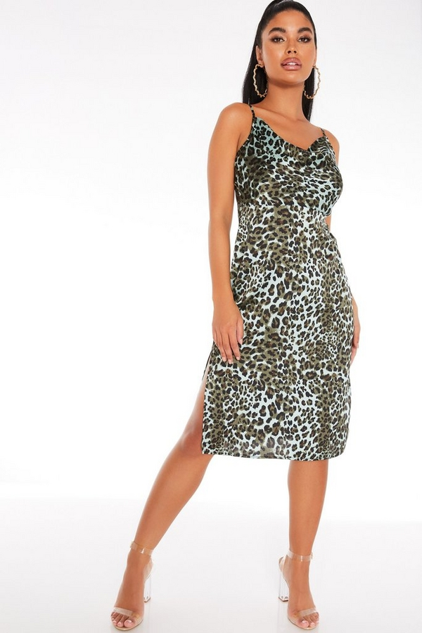Petite Khaki Animal Print Slip Dress