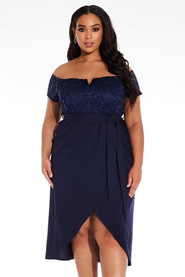 Vestido Curve Azul Marino con Encaje y Purpurina
