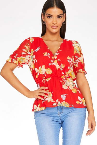 Red Floral Wrap Top