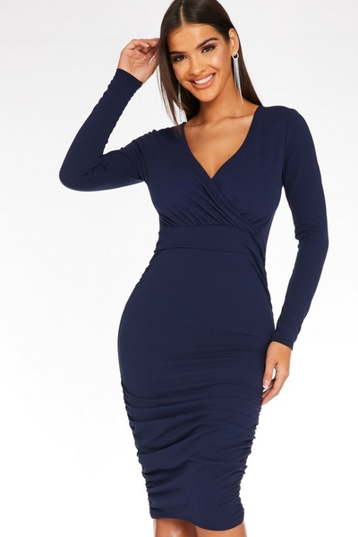Navy Ruched Side Midi Dress