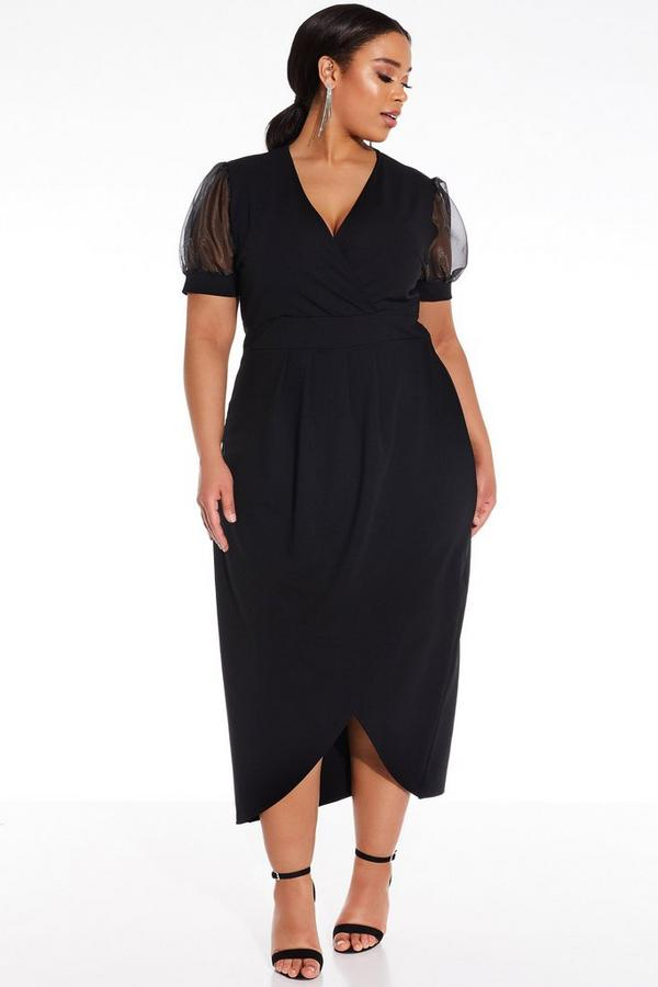 Plus Size Black Puff Sleeve Midi Dress