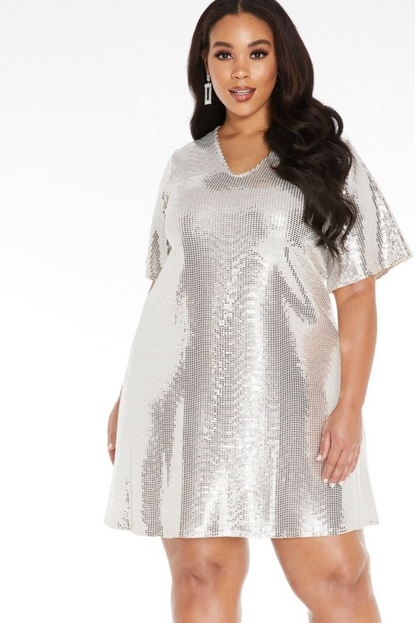Curve Silver Sequin Tunic Dress