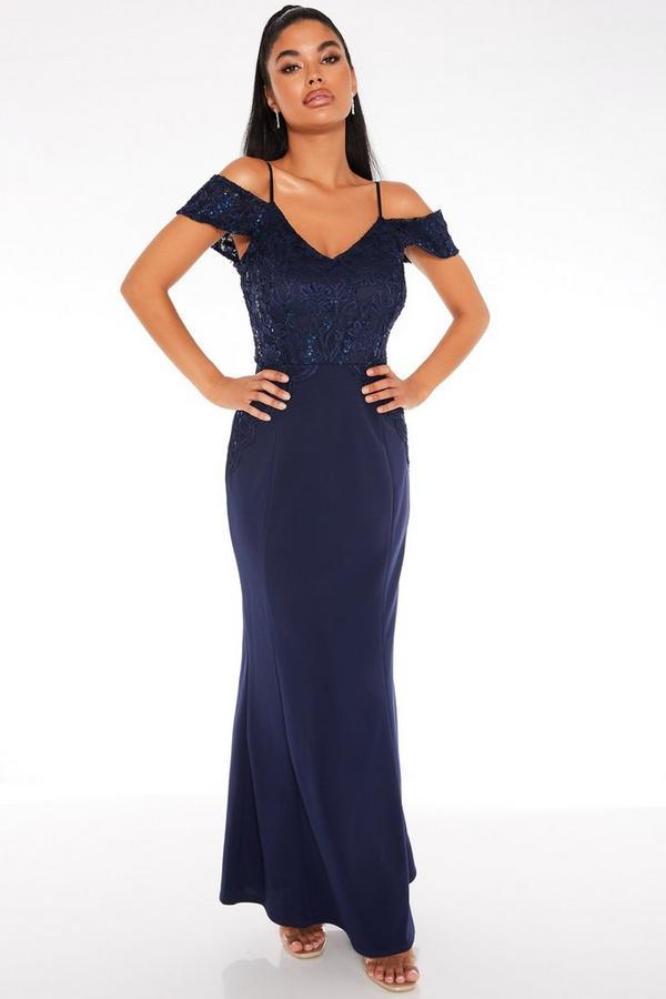 Vestido Petite Largo Azul Marino con Encaje y Lentejuelas