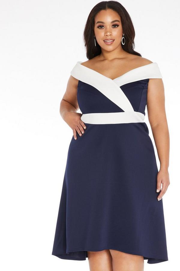 Curve Navy Dip Hem Dress