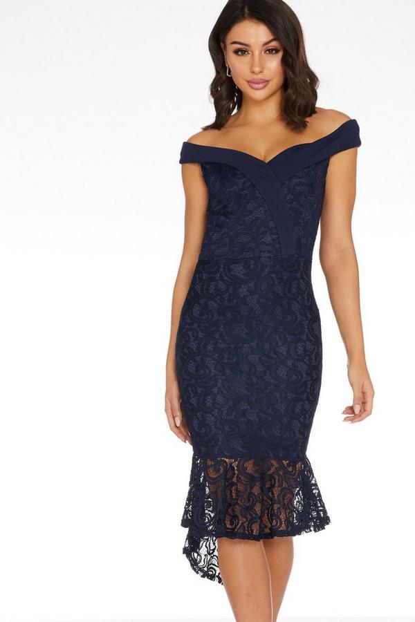 Navy Lace Bardot Midi Dress