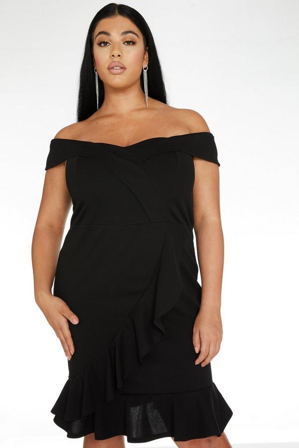 Curve Black Bardot Frill Dress