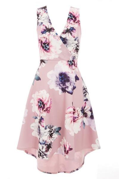 Pink Floral Dip Hem Dress