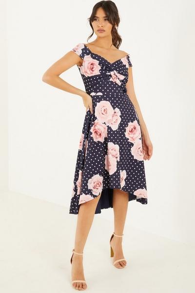 Navy Floral Dip Hem Dress