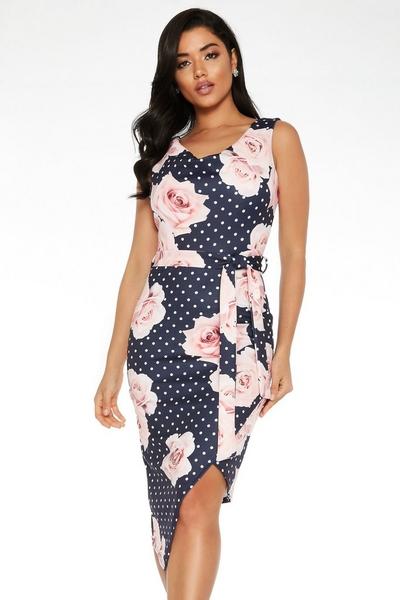 Navy Floral Asymmetric Dress