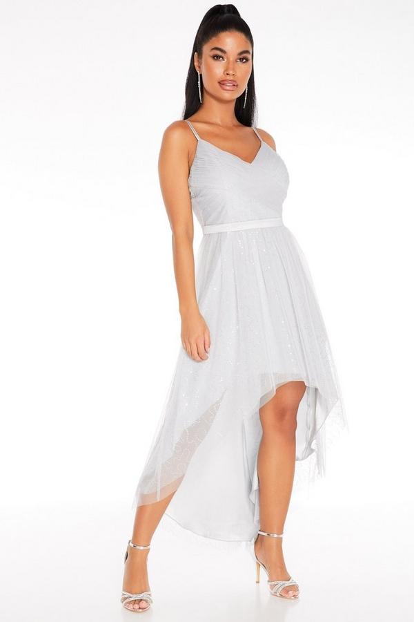 Petite Grey Sequin Dip Hem Dress