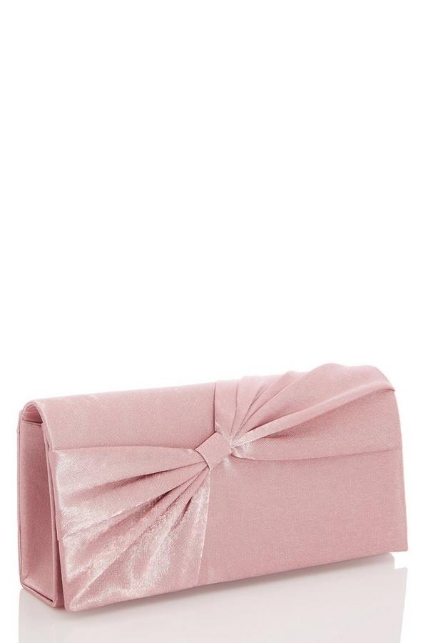 Mauve Bow Clutch Bag