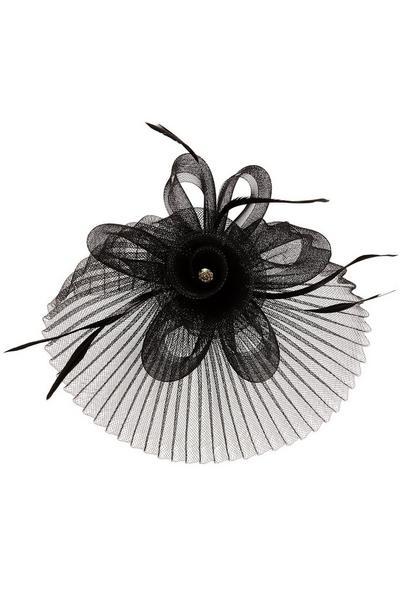 Black Flower Pleated Fascinator