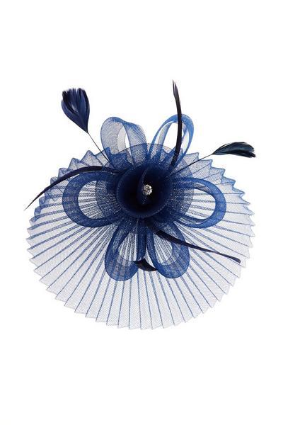 Navy Flower Pleated Fascinator