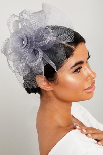 Grey Flower Jewel Fascinator