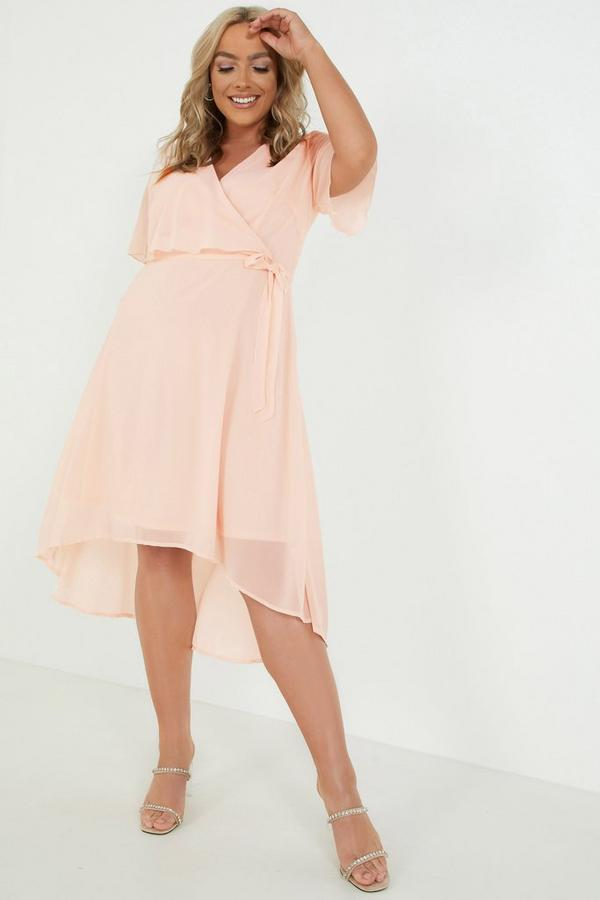 Curve Blush Chiffon Dip Hem Dress