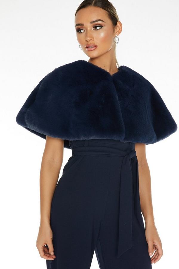 Navy Faux Fur Wrap