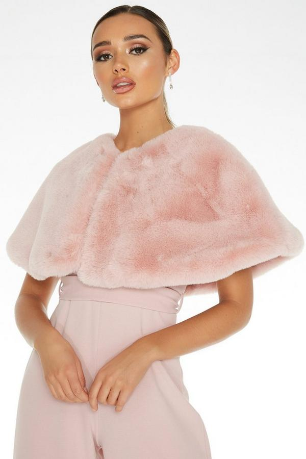 Pink Faux Fur Wrap