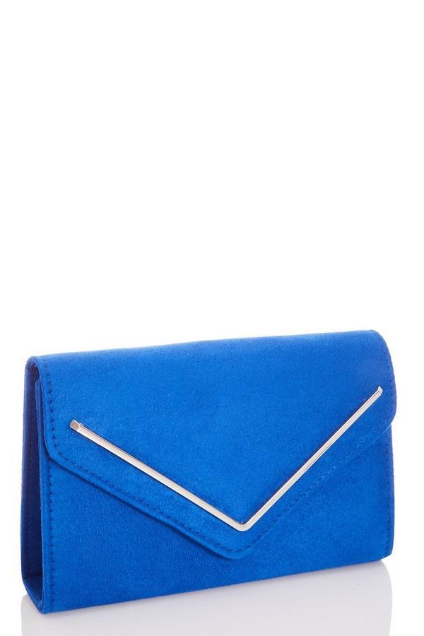 Blue Faux Suede Envelope Bag