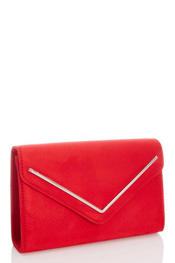 Red Faux Suede Envelope Bag
