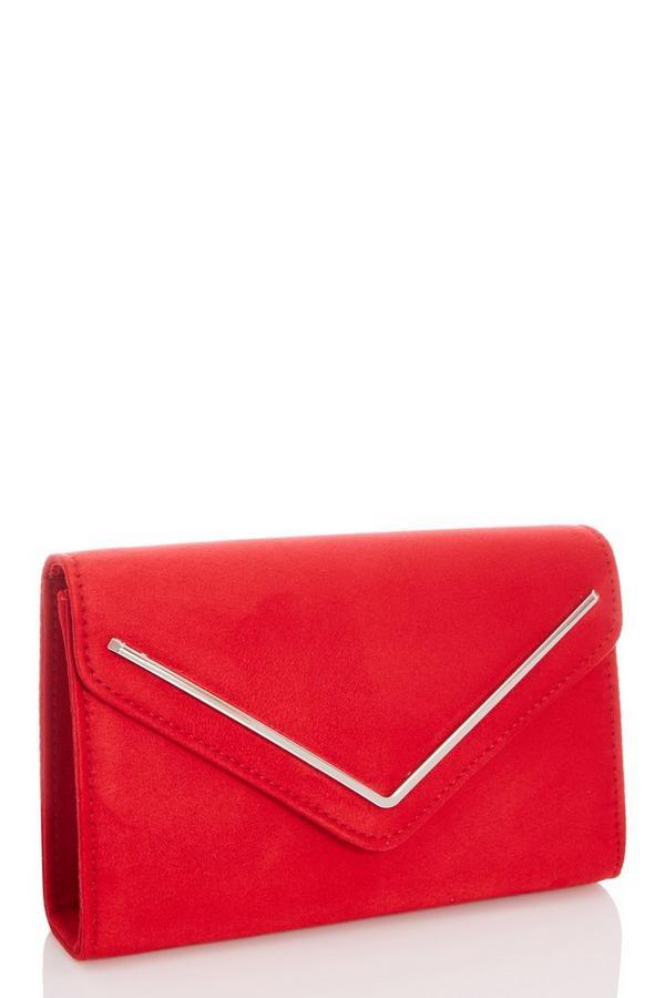 Red Faux Suede Envelope Bag