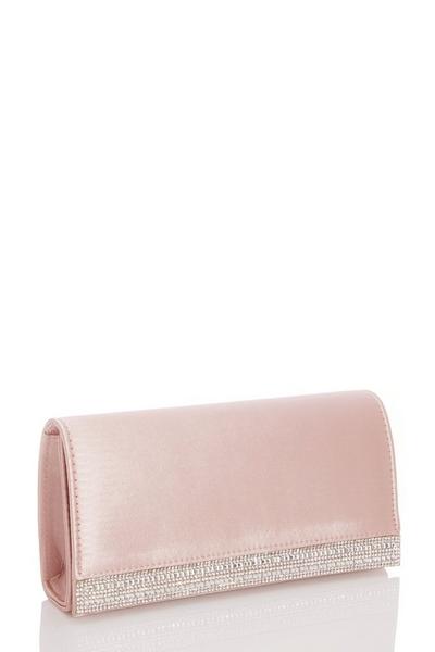 Pink Satin Diamante Stripe Bag