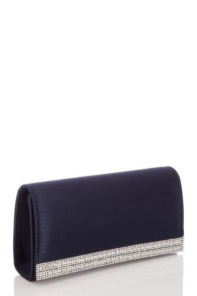 Navy Satin Diamante Stripe Bag