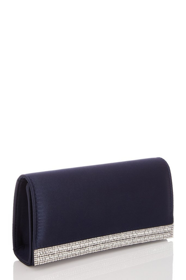 Navy Satin Diamante Stripe Bag