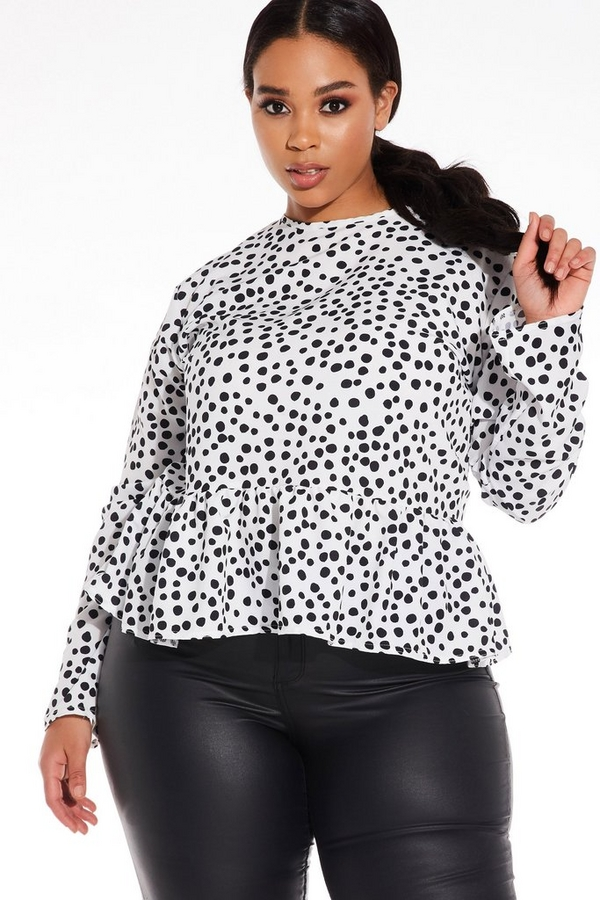 Curve White Polka Dot Peplum Top