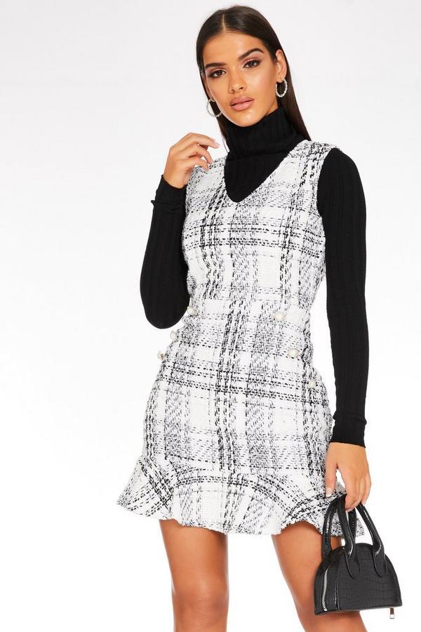 White Check Frill Hem Dress