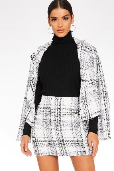 White Check Button Front Skirt