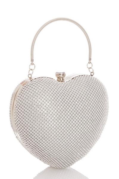 Silver Diamante Heart Bag