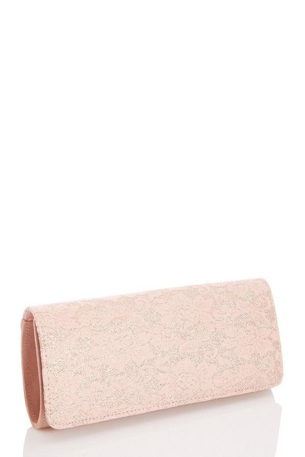 Pink Lace Clutch Bag