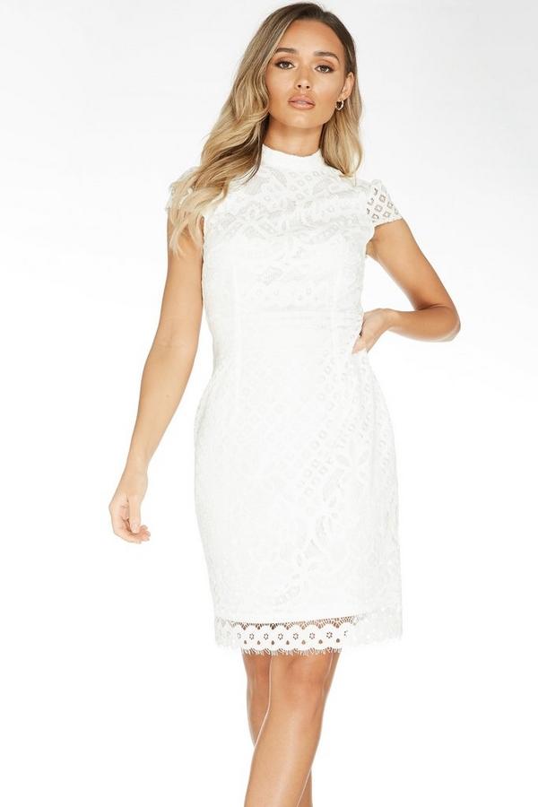 White Lace Turtle Neck Midi Dress