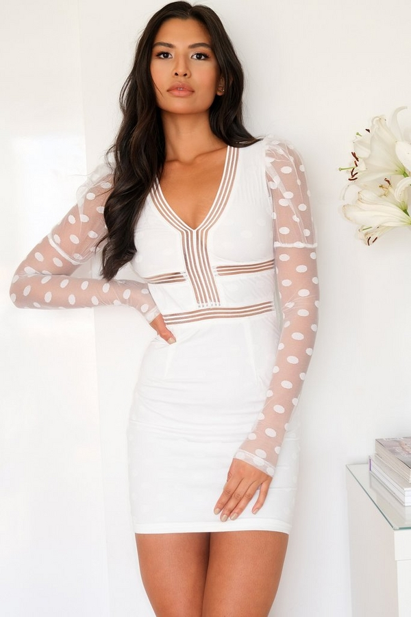 White Polka Dot Mesh Bodycon Dress