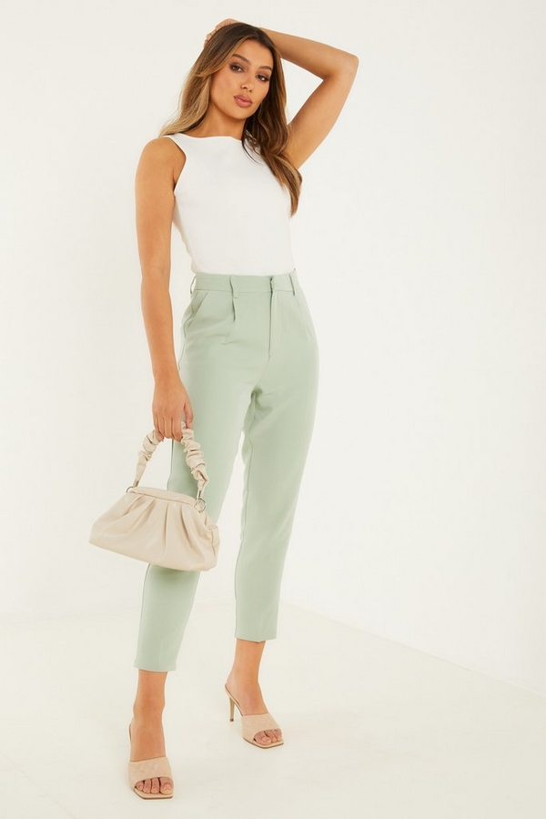 Sage High Waist Tapered Trousers