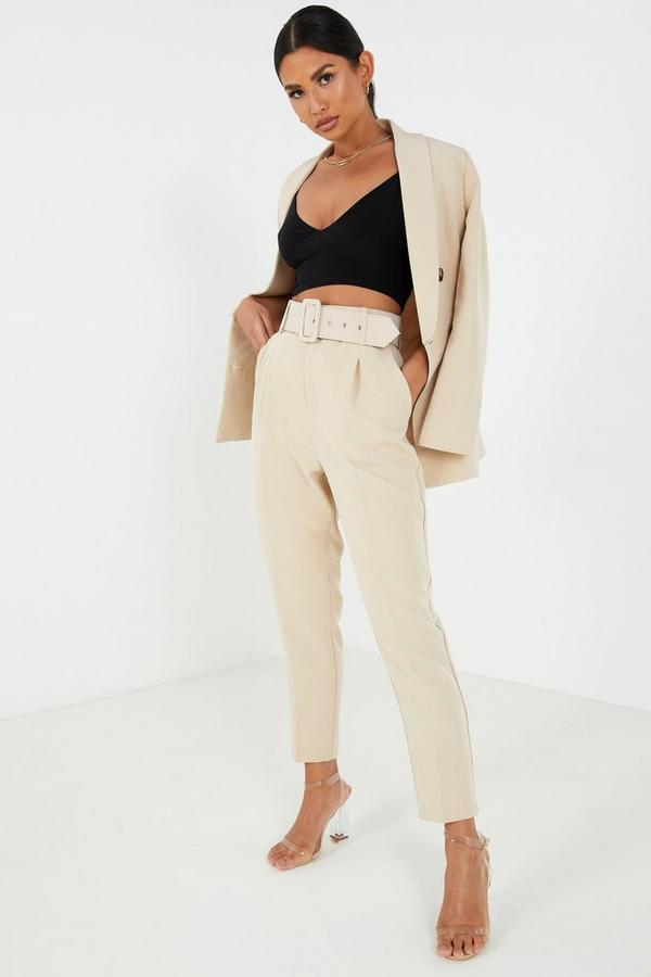 Stone High Waist Tapered Trousers