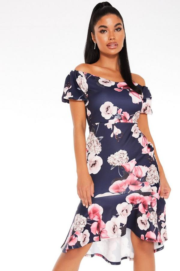 Petite Navy Floral Bardot Dress