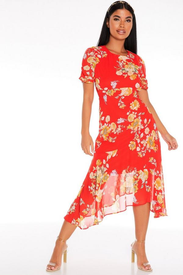 Petite Red Floral Midi Dress