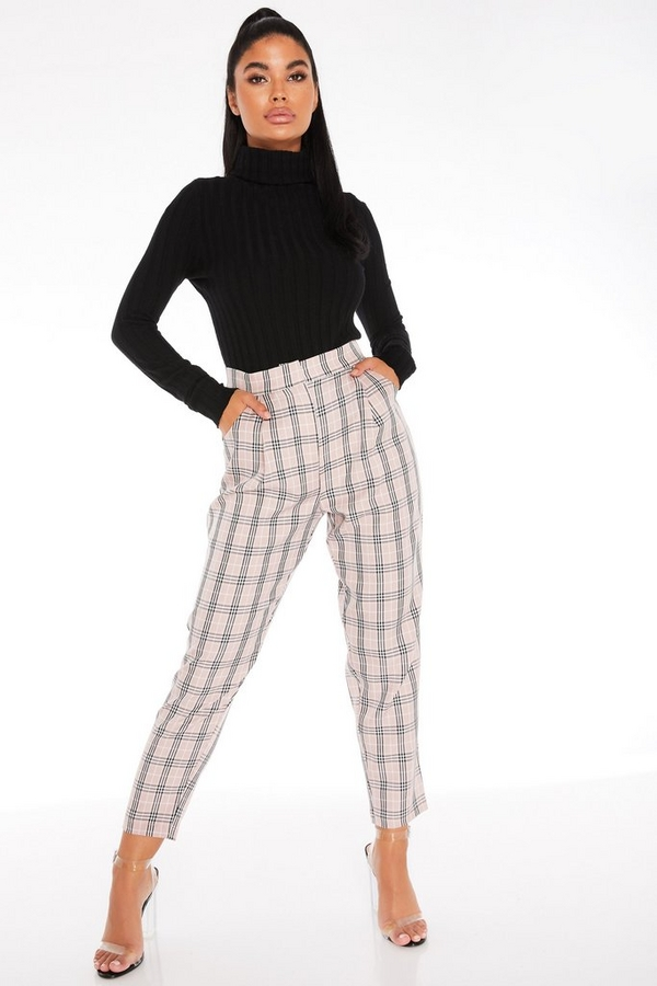 Petite Pink Check Print Trousers
