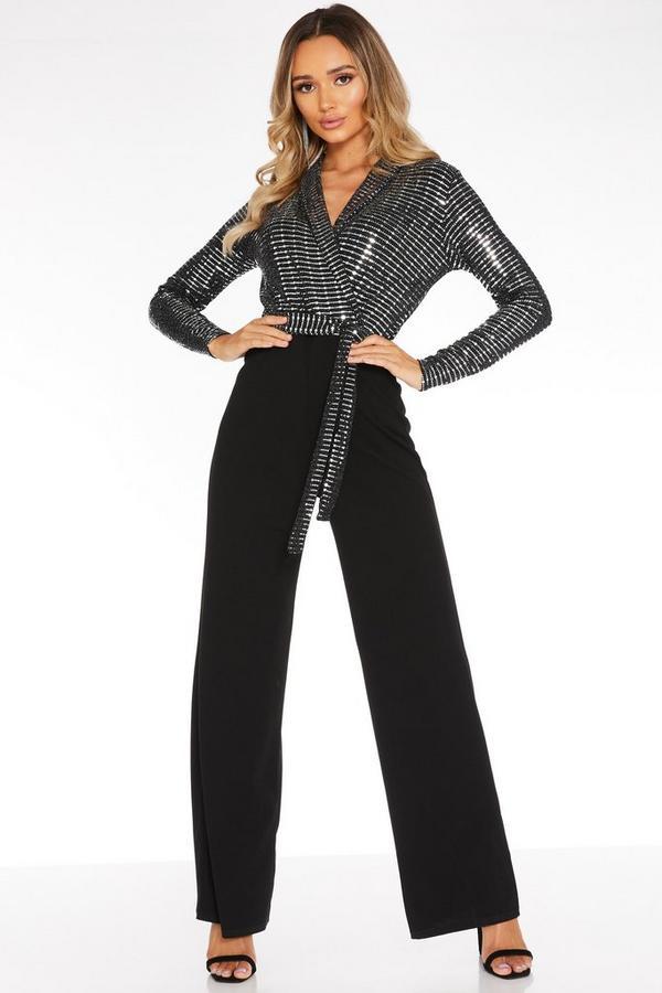 Black Sequin Long Sleeve Jumpsuit