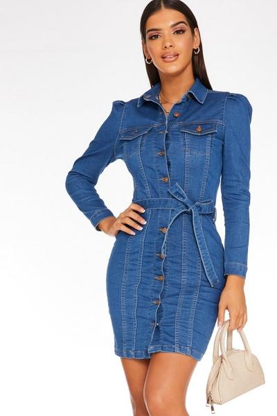 Blue Denim Button Dress