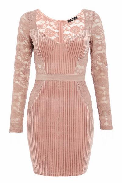 Pink Velvet Lace Bodycon Dress