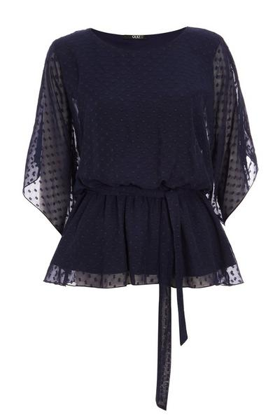 Navy Chiffon Belted Top