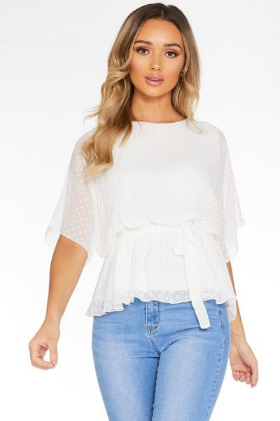 Cream Chiffon Belted Top
