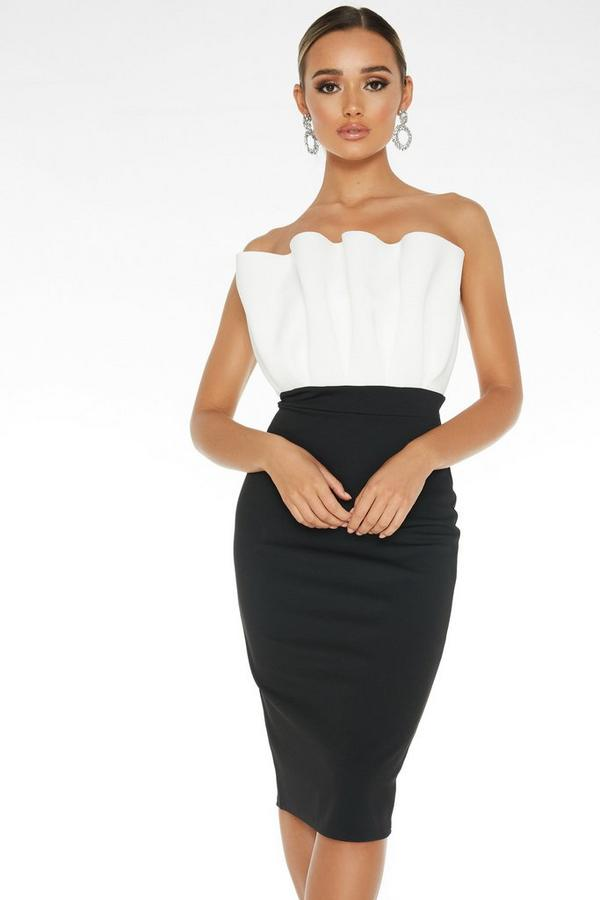 Black Frill Bandeau Midi Dress