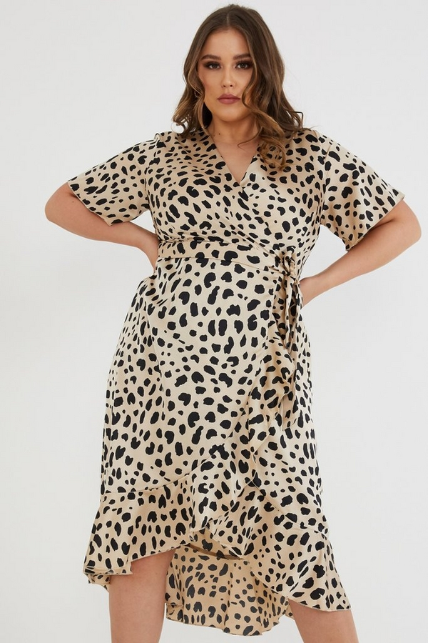 Curve Satin Leopard Midi Dress