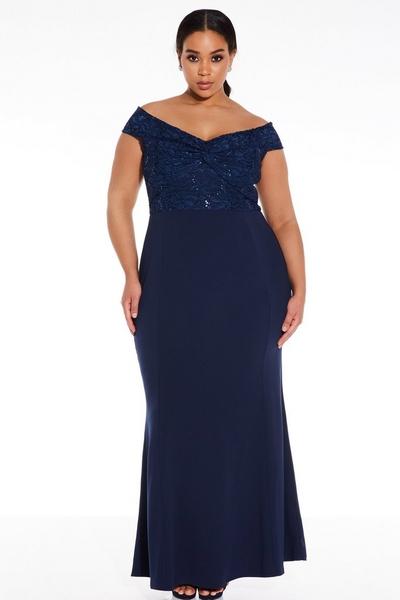 Curve Navy Bardot Maxi Dress