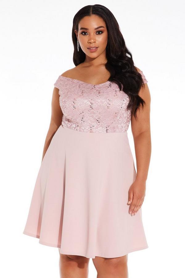 Plus Size Pink Bardot Lace Skater Dress