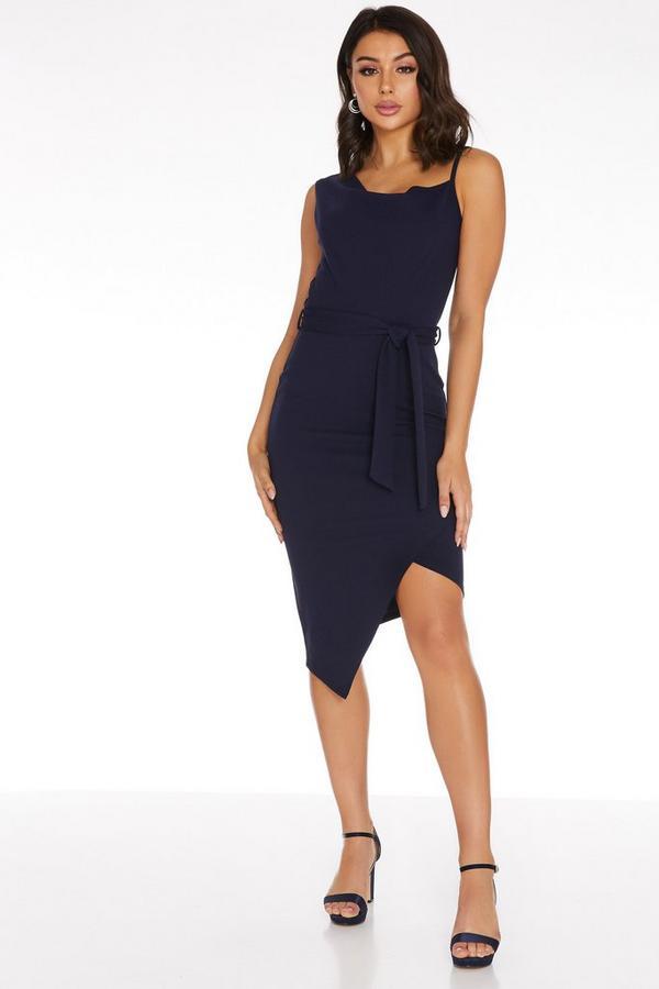 Navy Cowl Neck Asymmetric Dress