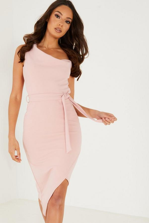Pink Cowl Neck Asymmetric Dress